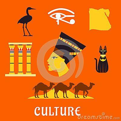 Viaje de Egipto antiguo e iconos planos de la cultura