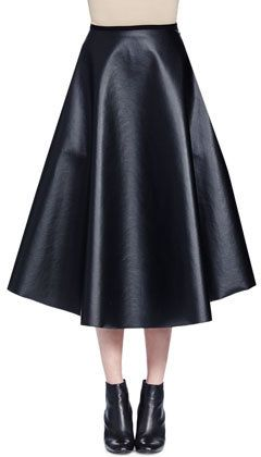 Lanvin Full Leather Midi Skirt, Black