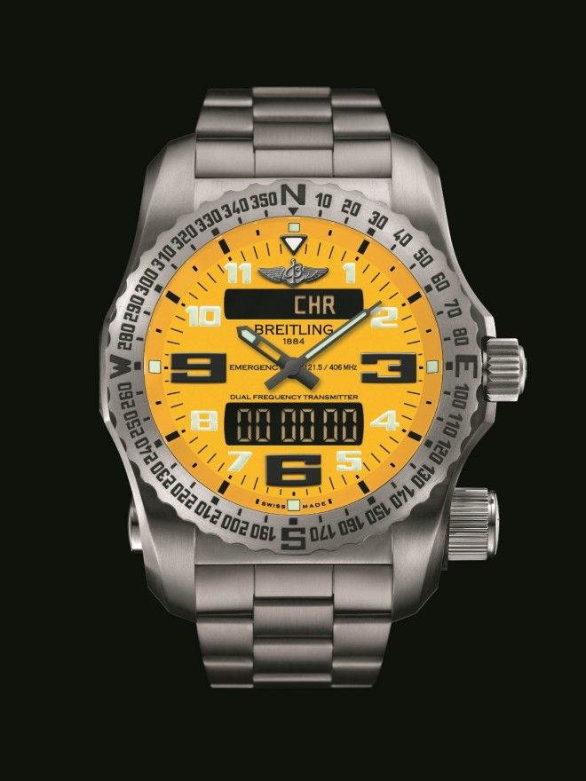Breitling Emergency II Cobra Yellow Dial Front