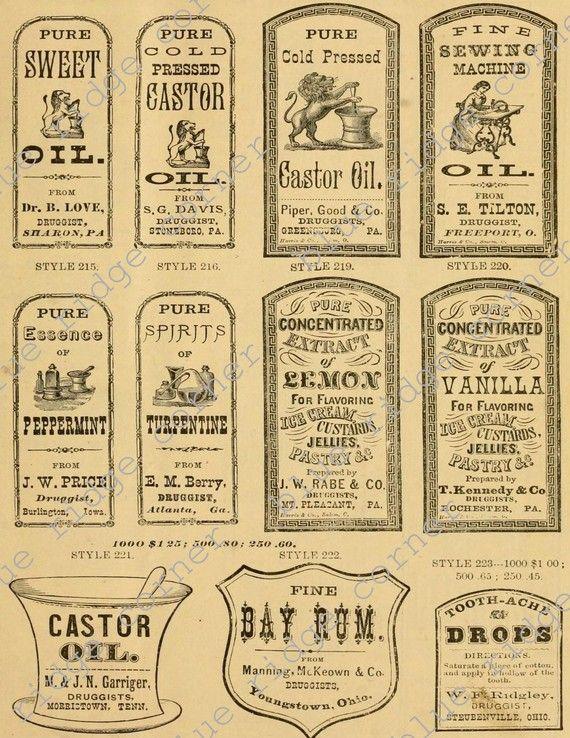 Vintage Antique Medicine Druggist Pharmacy Labels Digital Collage Sheets 2 SET