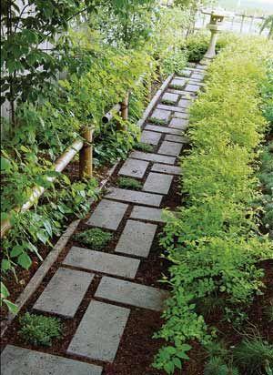 modern paver path