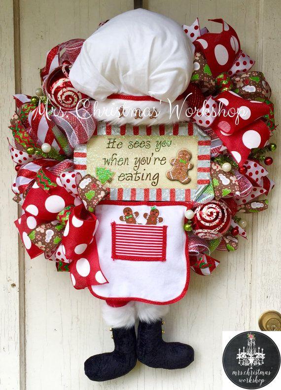 Christmas wreath Santa wreath gingerbread by MrsChristmasWorkshop