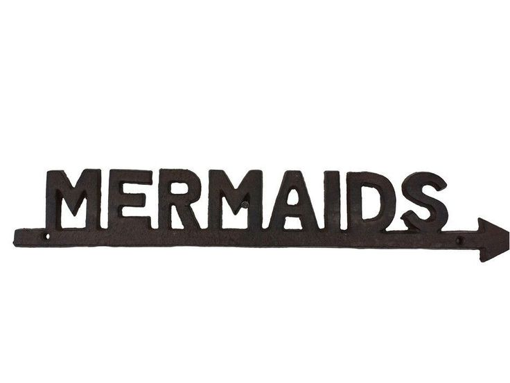Rustic Cast Iron Mermaids Sign