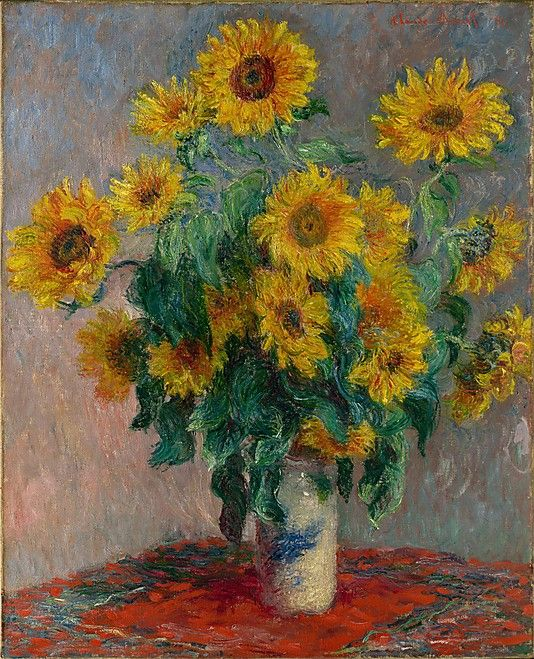 Bouquet of Sunflowers  Claude Monet  (French, Paris 1840–1926 Giverny)    Date:      1881  Medium:      Oil on canvas  Dimensions:      39 3/4 x 32 in. (101 x 81.3 cm)  Classification:      Paintings  Credit Line:      H. O. Havemeyer Collection, Bequest of Mrs. H. O. Havemeyer, 1929  Accession Number:      29.100.107    This artwork is currently on display in Gallery 819