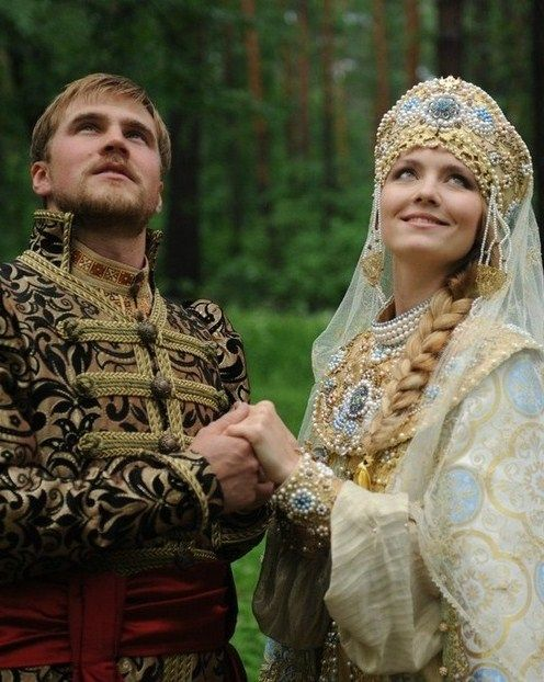 A bride and a groom in the old Russian style. #bride #Russian #weddings [ pinning for male costume ]