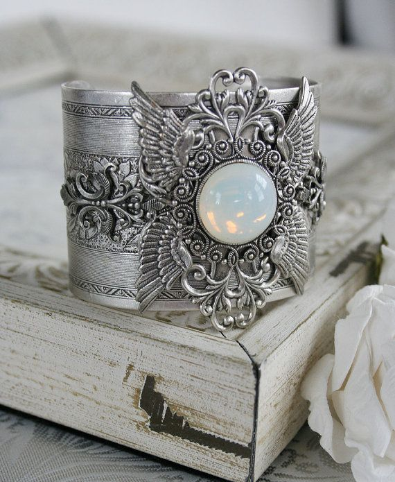 GOD'S CHERUBIM Victorian vintage inspired angel cuff bracelet in antiqued silver with bonus matching earrings