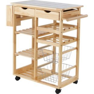 Buy Living Tile Top Kitchen Storage Trolley - Pine at Argos.co.uk - Your Online Shop for Kitchen trolleys.