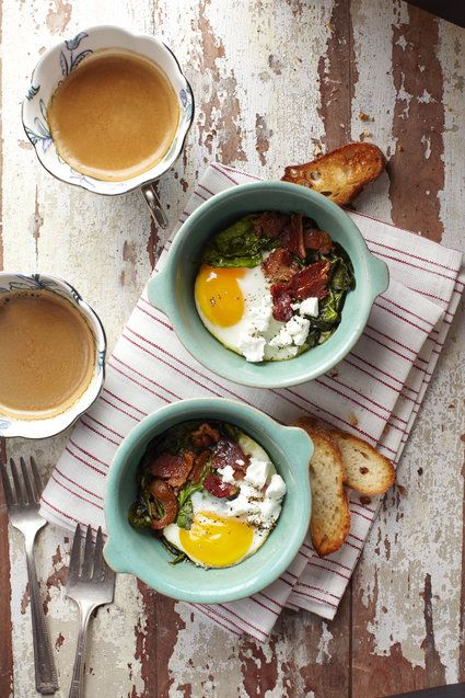 Baked Eggs with Smoked Bacon, Spinach and Goat Cheese