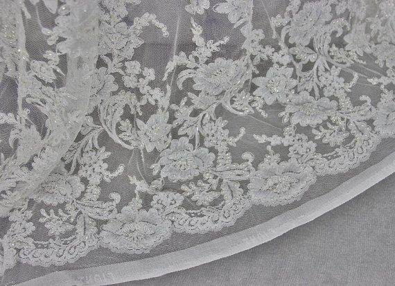 Ivory French Corded Beaded Lace | Bridal Fabric | Free Delivery within UK