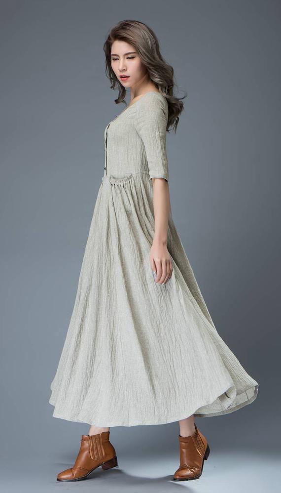 9bf98f042b9 Long linen dress