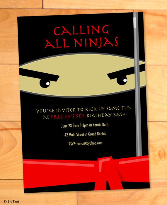 Ninja Karate Kicks Birthday Card, Modern Birthday Party Invite, Custom Birthday Invitation