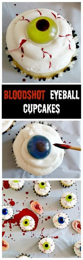 Simple Bloodshot Eyeball Cupcakes that anyone can do! Perfect dessert for a Halloween party.
