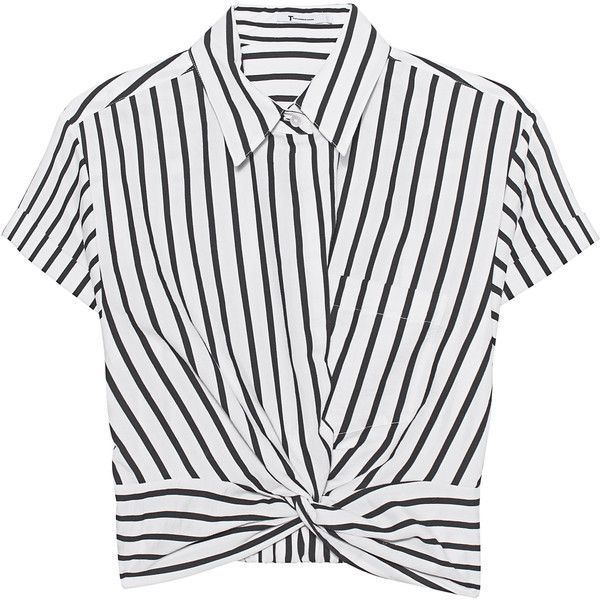 T BY ALEXANDER WANG Twist Front Crop Stripe // Cropped short sleeve... (1.005 BRL) ❤ liked on Polyvore featuring tops, blouses, white crop shirt, white short sleeve shirt, white short sleeve blouse, long-sleeve crop tops and striped sleeve shirt