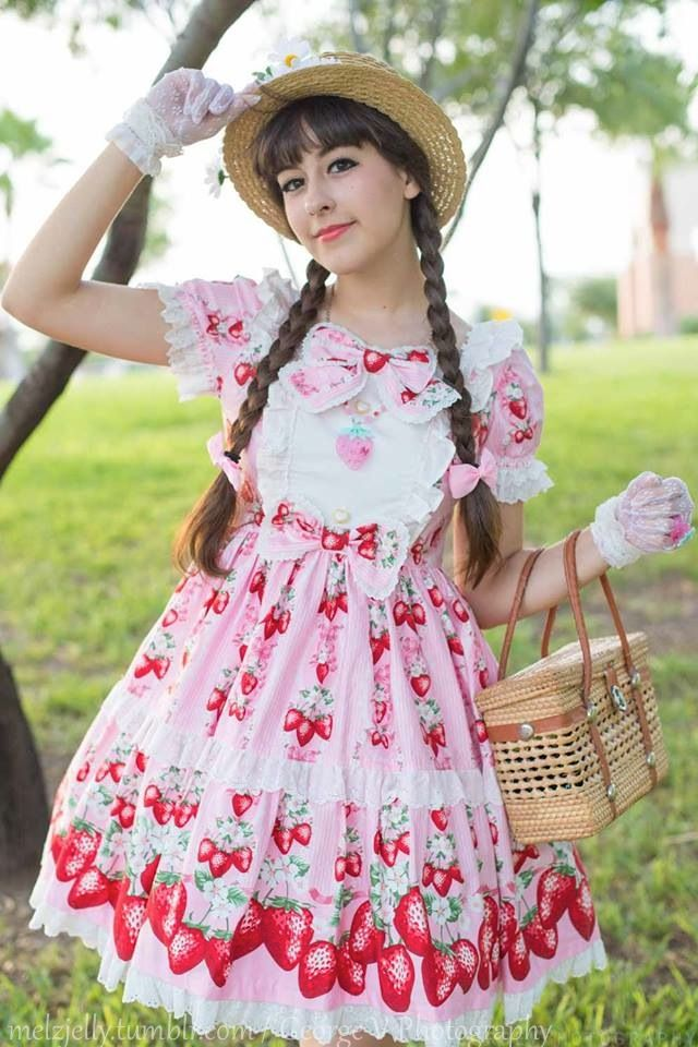 melzjelly:  Here's a photo of my coord from this weekend at my local convention. First brand dress! Yay! I was super excited c: Thanks to George V Photography for the photo!Dress: Berry Garden, APNecklace & Ring: APPurse, Gloves & Hat: offbrandWrist cuffs & Flower arrangement: handmade