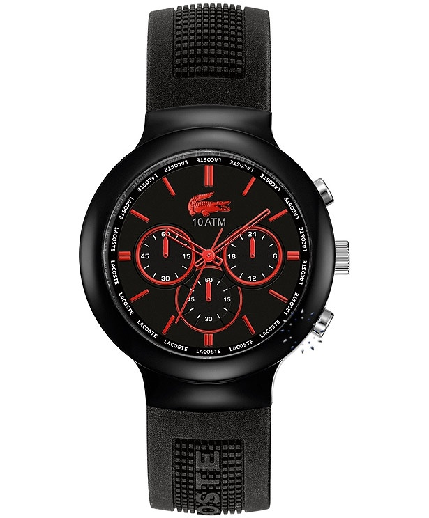 LACOSTE Black and Red Rubber Strap Μοντέλο: 2010652 Η τιμή μας: 139€ http://www.oroloi.gr/product_info.php?products_id=32195