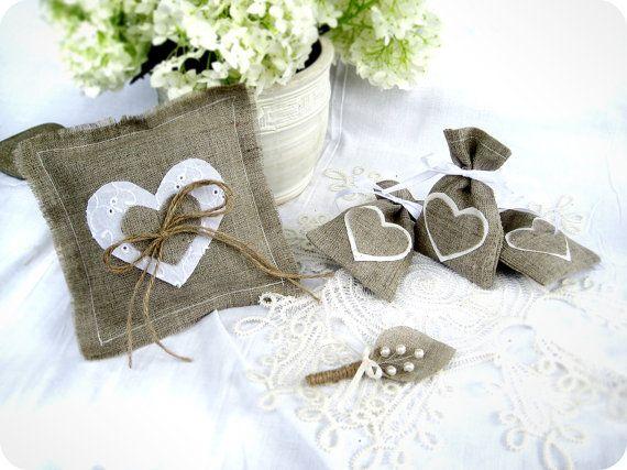 Arpillera anillo portador almohada almohada de boda cojín de