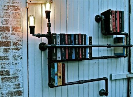 "Need to see how many pipes like these are in our basement ""den."": Pipes Bookshelf, Bookshelves, Ideas, Bookshelf Design, Pipes Shelves, Books Shelves, Pipe Bookshelf, Book Shelves, Bookca"