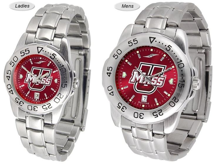 The Sport Steel AnoChrome Massachusetts Minutemen Watch is available in Mens or Ladies styles. Showcases the team logo. Stainless Steel band. Free Shipping. Visit SportsFansPlus.com for Details.