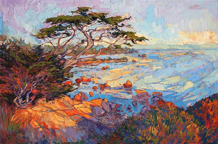 Pebble Beach cypress tree painting by modern impressionist painter Erin Hanson