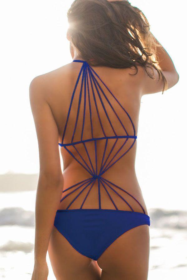 Blue Strappy Design Stretch Monokini