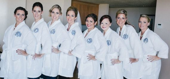 Monogrammed Robe Waffle Robe Personalized Robe Kimono Spa Robe Personalized Bridesmaids Gift Embroidered on Etsy, $35.00