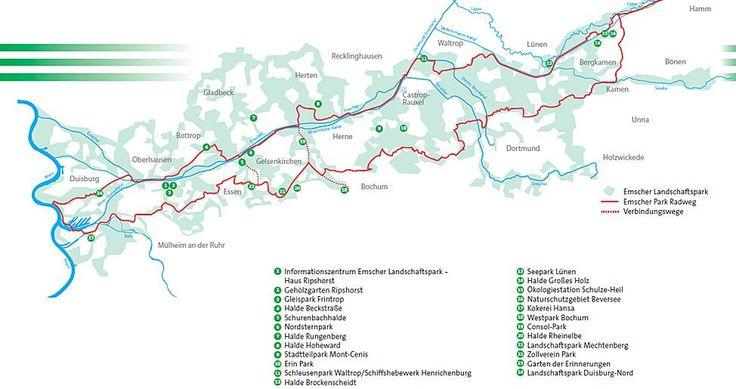 OBERHAUSEN Haus Ripshorst: Emscher Landschaftspark Erläutert werden anhand modernster multimedialer Präsentationstechnik die 15 bedeutenden Standorte des Regionalparks, wie zum Beispiel der Landschaftspark Duisburg-Nord. Zudem bietet Haus Ripshorst in seinem Gehölzgarten viele Gelegenheiten für Exkursionen und Veranstaltungen zu Natur- und Umweltthemen an. Eine Fahrradstation befindet sich dazu direkt vor Ort.