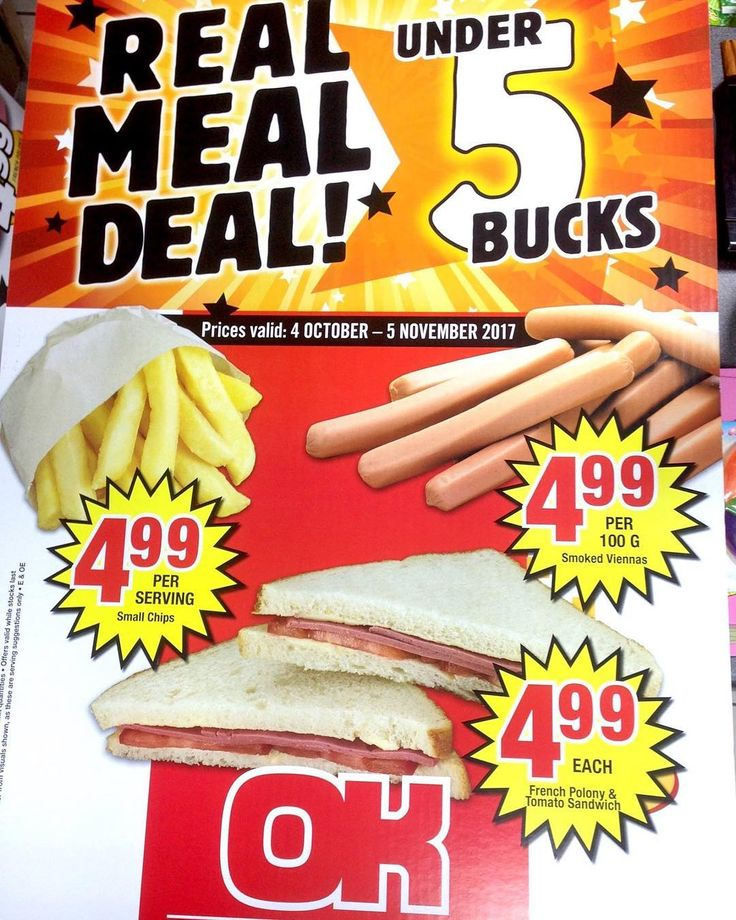 We are running an incredible REAL MEAL DEAL until 5th November 2017   Check out what's delicious and UNDER R5  #ProudlyPorterville #deal #save #bargain #okfoods