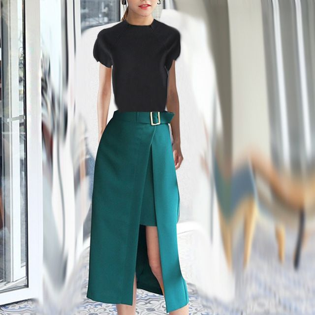 Черный вязать свитер топ и карандаш передняя открыть юбка 2016 свитер и юбка из двух частей комплект одежды 1013