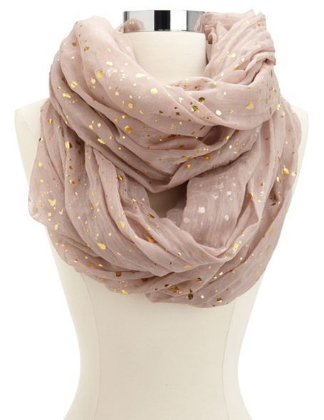 Metallic Dot Infinity Scarf: Charlotte Russe. I love how they're little flecks instead of dots. Makes it look like metallic leaf.
