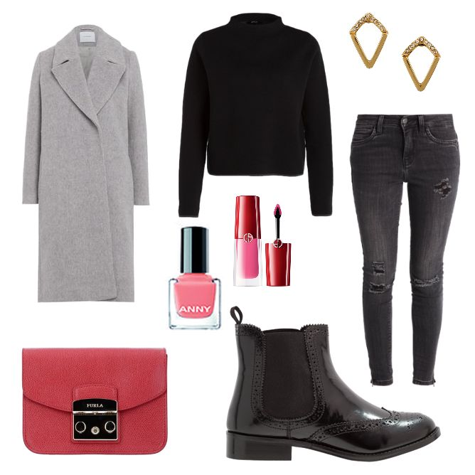 Modernes Schickes Outfit - #ootd #outfit #fashion #oneoutfitperday #fashionblogger #fashionbloggerde #frauenoutfit #herbstoutfit - Frauen Outfit Herbst Outfit Outfit des Tages Anny Armani denim Dune London Flamingo Giorgio Armani IVY & OAK Jeans Jeans Skinny Fit Lipgloss Mantel Nagellack Ohrring Ohrringe ONLY OPUS Pullover Skinny Skinny Fit Stiefelette TOSH