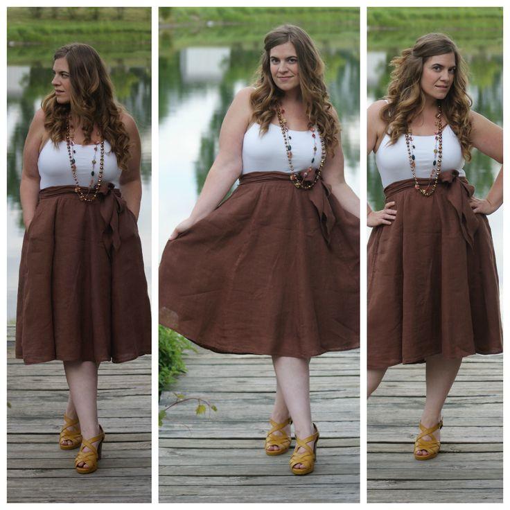 Tan Linen Skirt - Curvy Girl Style: Summer Dresses