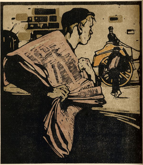 """News-Boy, the City – """"the London ear loathes his speeshul yell…"""", London Types 12, 1898 lithography  print  // William Nicholson"""