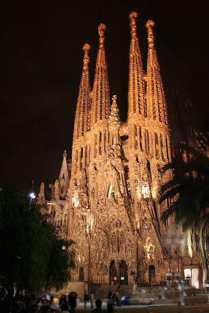 Sagrada Família at Night, Barcelona Spain