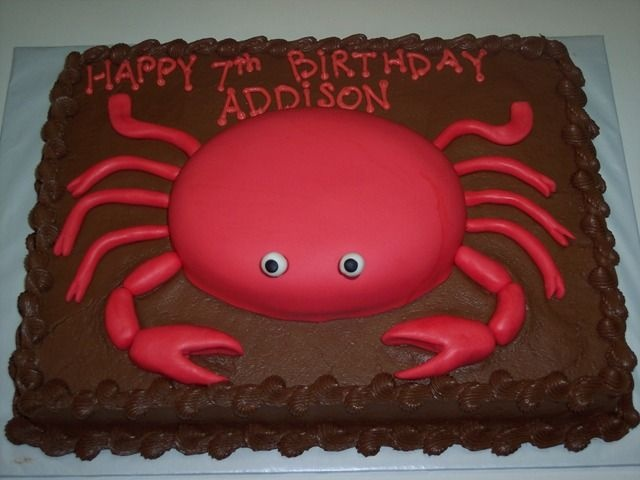Crab birthday - Hard to tell from the angle, but the eyes stick up on top.  Fun to make!