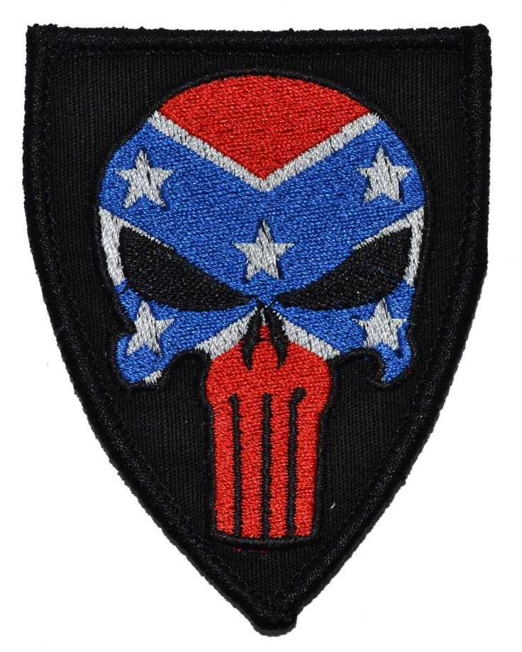 confederate flagfilled punisher skull 3x25 shield