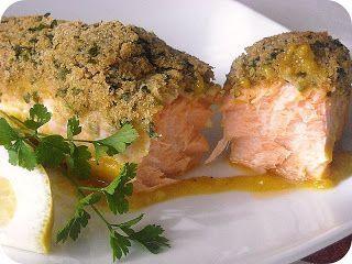 Lombo de salmão no forno com mel e mostarda