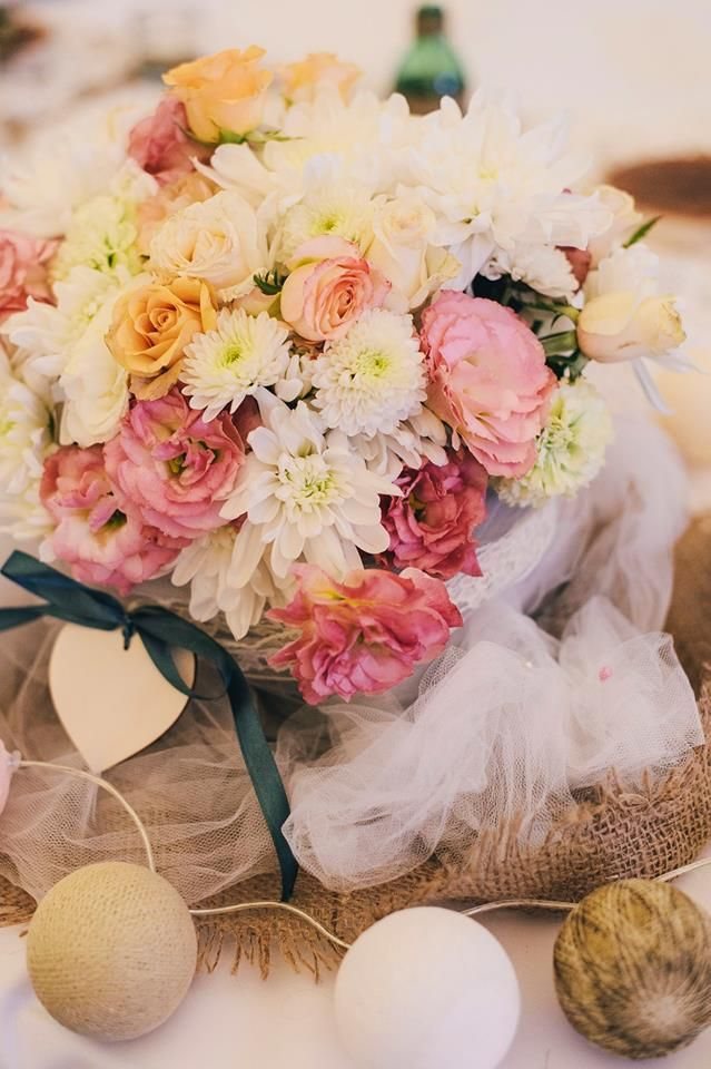 Rustc romantic wedding - mix of pastel flowers with cotton balls - Oh Happy Day!