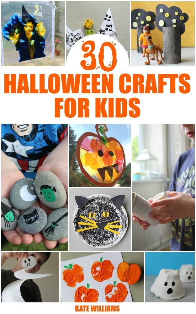30 Fantastic halloween crafts for kids - ghosts, bats, pumpkins, witches and loads more with ideas on how to adjust the crafts for different ages too!