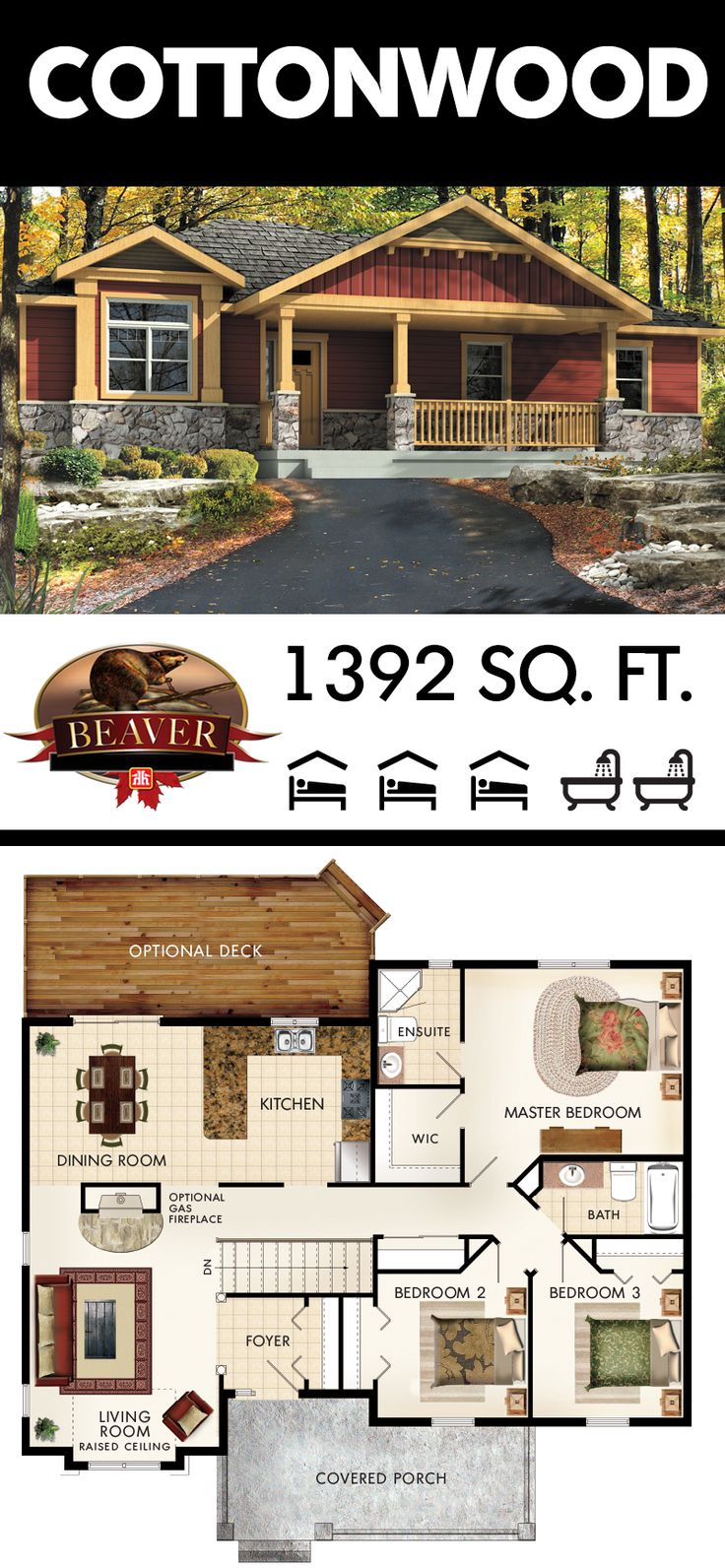 The smooth flow of the Cottonwood's floor plan makes for easy accessibility and movement. Bonus: the craftsman-like exterior provides stunning curb appeal. #BeaverHomesAndCottages