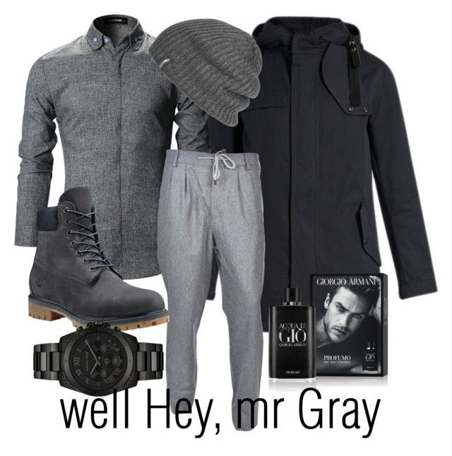 """""""Well Hey, mr Gray"""" by inauniqe on Polyvore featuring Lanvin, Brunello Cucinelli, Timberland, Michael Kors, Outdoor Research, Giorgio Armani, men's fashion and menswear"""