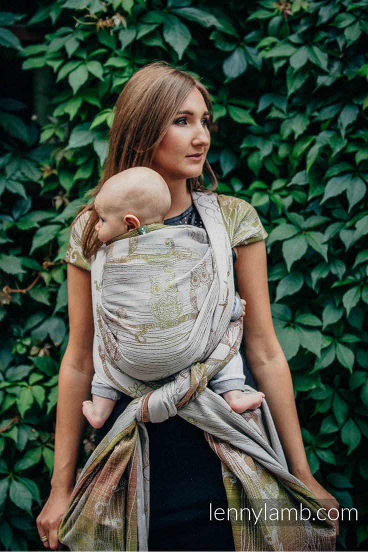 BABY WRAP, JACQUARD WEAVE (60% COTTON, 20% MERINO WOOL, 12% SILK, 8% HEMP) - FOREST BUBO OWLS