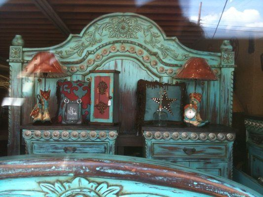 Turquoise And Wood Furniture