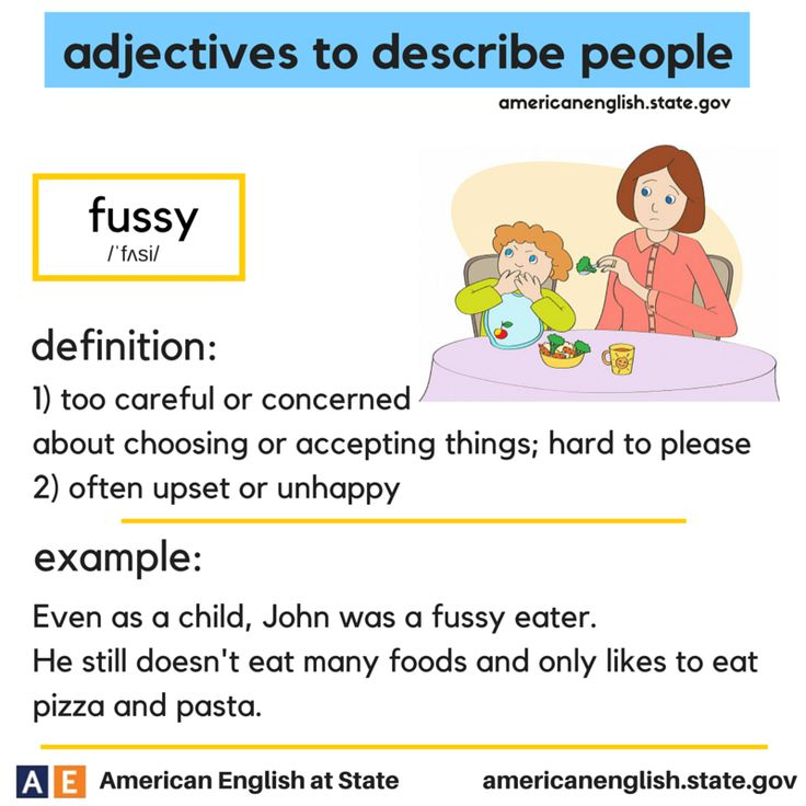 adjectives to describe people: fussy