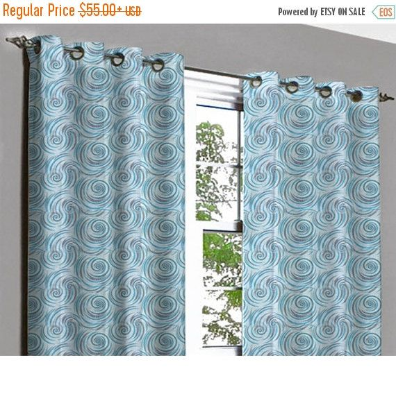 10% THANKSGIVING SALE Monsoon Aqua Centric Grommet Unlined Curtain in Textured Jacquard Weave Fabric Decor and Housewares Window Treatment D