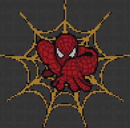 Marvel Cross Stitch Pattern - Crawling Spiderman - 14ct Aida by StunningCrossStitch on Etsy