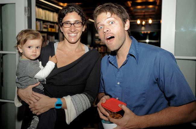 Misha Collins with his wife Victoria Vantoch and their child...