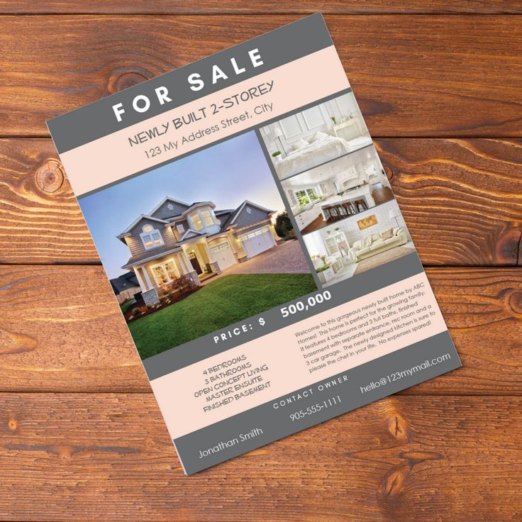 Real Estate Flyer PDF Fillable- Charcoal and Pastel Pink