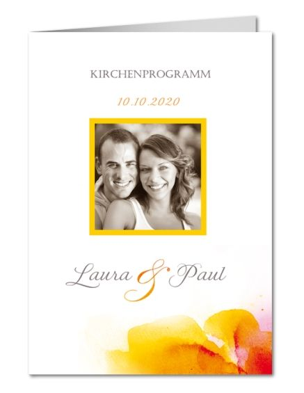 Kirchenheft Hochzeit Aquarell in Rottönen (PRP-280)