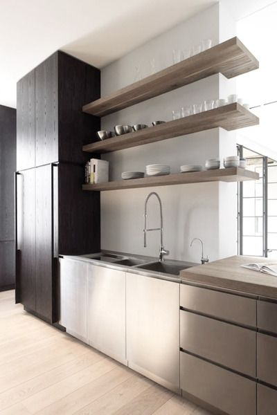 back bar shelf idea where the shelving passes in front of windows (change in depth)