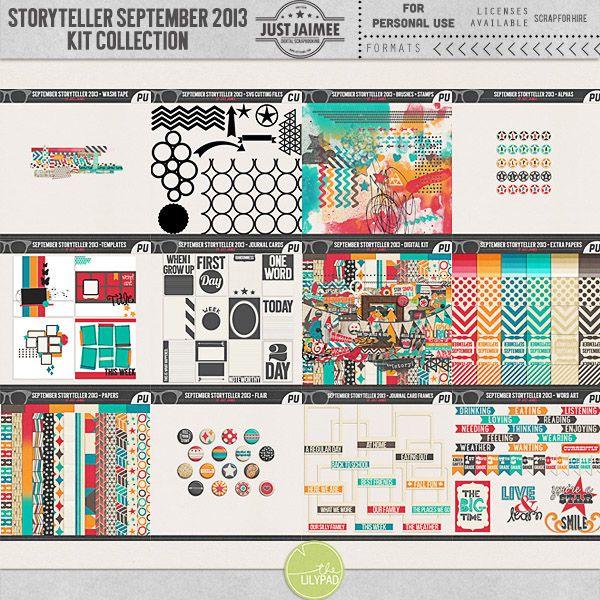 Storyteller September 2013 - Digital Scrapbooking Kit Collection